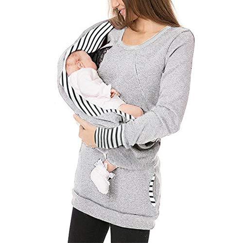 Mutterschafts Gestreifte Umstandsmode mit Baby Carrier Loop Infinity Schal Taschen Babytragens Stillzeit Umstandshirt Rundkragen Baby Carrier Pullover Langarmshirt Tops für Schwangerschaft