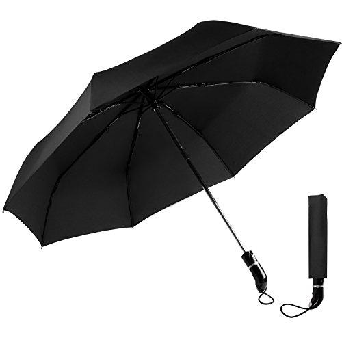 OXA Parapluie de Voyage, Résistant au Vent 105cm de Diamètre Large Parapluie à Ouverture et Fermeture Automatique Parapluie en Tissu Imperméable Noir 210T, Élégant pour Homme et Femme, Garanti à Vie