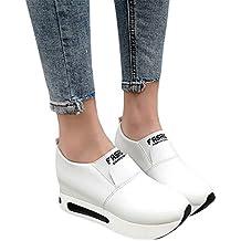 Zapatillas De Deporte Para Mujer De PU Casual Cómodo Calzado De Suela Gruesa De Señora De