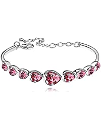 Silver Crystal Diamond Accent Heart Shape Bracelet Made with Swarovski Crystal, with a Gift Box