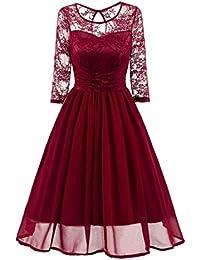 OverDose vestidos mujer fiesta elegante vestido de fiesta de boda de encaje de malla