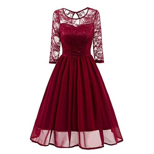 Damen Vintage Spitzenkleid, KaloryWee Abendgesellschaft Hochzeit Casual Dreiviertel Ärmel Kleid (M, Wein) (Kleid Silk Tank)