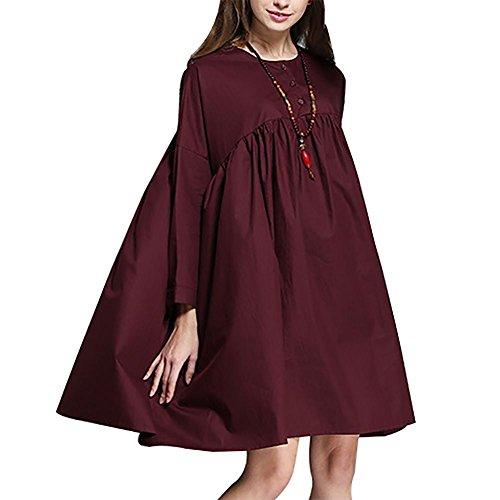 MCC Le donne grande vestito di colore solido grande altalena camicia maniche lunghe girocollo , purple red , xxl