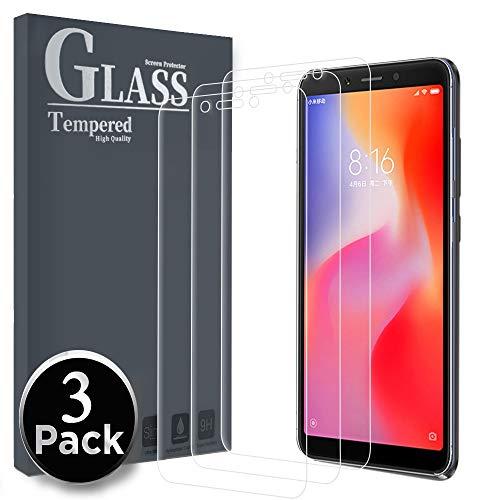 Ferilinso Panzerglas für Xiaomi Redmi 6 / Redmi 6A, [3 Pack] Schutzfolie Gehärtetes Glas Displayschutzfolie mit Lebenszeit Ersatzgarantie für Xiaomi Redmi 6 / Redmi 6A (Transparent)