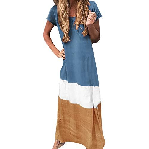 Strungten Vintage Frauen Sommer Lose Farbblock Patchwork Oansatz Kurzarm Maxi Langes Kleid Midi Mini Casual Strandkleider -