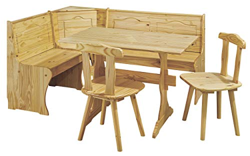 H24living Eckbankgruppe Eckbank Essgruppe Essecke Bank Sitzecken Tisch 2 Stühle Landhaus-Stil Küche Massivholz Truhenfächer Holz Kiefer Massiv 124-163 x 49 x 85 cm