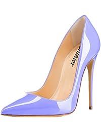 Calaier Mujer Cahen Tacón de Aguja 12CM Sintético Ponerse Zapatos de Tacón