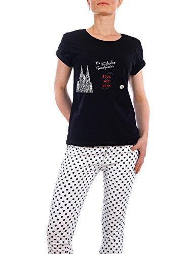 """Design T-Shirt Frauen Earth Positive """"ET ES WIE ET ES schwarz"""" - stylisches Shirt Typografie Städte / Köln von KoenigReich Schwarz"""