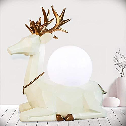 Willlly Modern Nordic Minimalistisch Elk Led Schreibtischlampe Hirsch Led Nachtlicht Mit Handgemachten Abstrakten Elch Designten Glaslampen Schirm Schlafzimmer Studium (Color : Colour-Weiß)