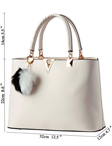 Menschwear Leather Tote Bag lucida PU nuove signore borsa a tracolla Cachi Bianco