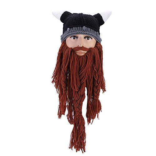 Dilwe Bart Strickmütze, Frauen Männer Viking Piraten Cosplay Hut Strick Lustige Vollbart Maske für Karneval Halloween Geburtstagsfeier(Braun)