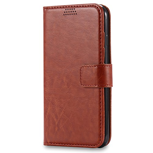 iPhone 7 Plus Coque , L2W de la peau Huile de cuir, Hard Shell PC + Premium High-End réel de vachette couverture globale + Affichage réglable Stand pour iPhone 7 Plus (Noir) marron