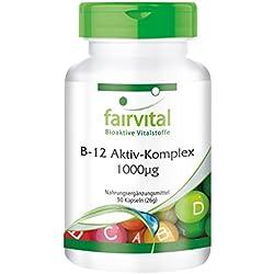Complejo Activo de B12 1000µg - 90 Cápsulas - fairvital - suplemento dietético basado en la vitamina B12 natural que forma la metilcobalamina, hidroxocobalamina y adenosilcobalamina. 