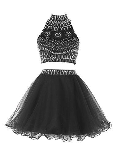 Find Dress Femme Sexy Robe de Soirée/Cérémonie/Cocktail Mariage Courte Dos Nu en Organza avec Appliques Noir