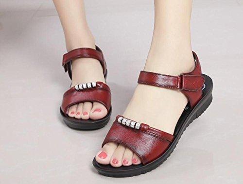 Sandali in pelle sandali da donna estivi con sandali piatti con sandali in morbida pelle 2