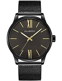Reloj, Relojes para Hombres, Relojes Casuales de Lujo clásicos de Acero Inoxidable Negro Reloj