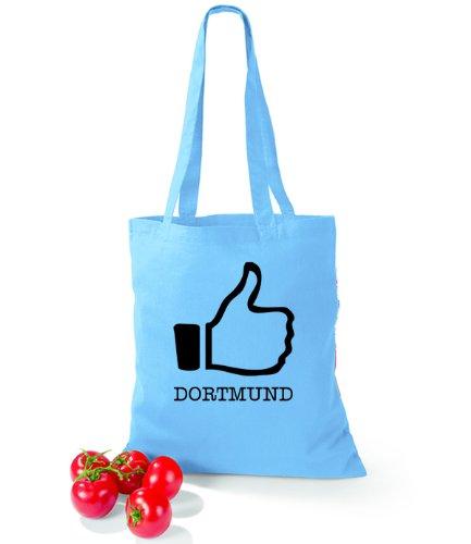 Artdiktat Baumwolltasche I like Dortmund Surf Blue
