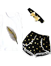 SMARTLADY 3PC/SET Niñas Patrón de Pluma Camisetas sin mangas + Pantalones cortos + Venda