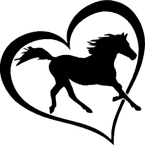 Zaosan Pferd Herz Vinyl Aufkleber Aufkleber Autofenster Stoßstange Wand Liebe Symbol Pony Kind Schlafzimmer Wandaufkleber Dekoration schwarz 28x28cm