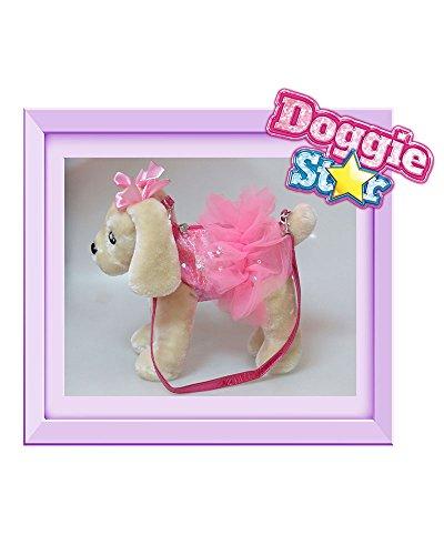 DOGGIE STAR® Borsa a forma di cane razza Caniche gigante fucsia con il tutù Beige - Tutu Rosa