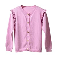 Jxstar® Big Girl's knitwear Lace Shoulder Long-Sleeved Jumper Elastane Rib Cuffs Button Cardigan Sweater Knitting Pink 8 years