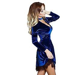 Rosennie Womens Lace Deep V Collar Choker Shiny Velvet Dress Ladies Party Clothes