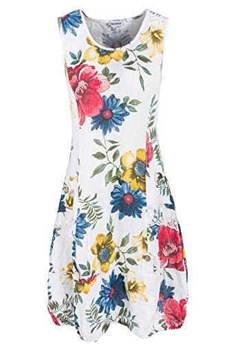 PEKIVESSA Damen Leinenkleid mit Blumen Sommerkleid Knielang Weiß 42 (Herstellergröße XL)