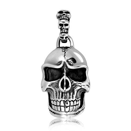 ilber 925Charm Anhänger Totenkopf Skull Kopf mit Bail 3 (Anhänger Bails)