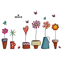 Idea Regalo - Fiori Vasi Piante Giardino piccole farfalle-Adesivo da parete Casa Decalcomania da parete in vinile rimovibile decorazione per finestre in PVC camera da letto soggiorno Art Picture Murals fai da te Stick impermeabile per adulti Zeppa childres Kids Nursery Baby + rana 3d adesivo per auto
