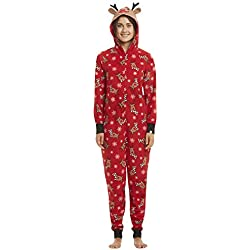Pyjama Noel Famille Combinaison Pyjama Grenouillère Femme Manche Longue Noël Enfant Bebe Fille Garcon Homme Adulte Sleepwear Renne Parent-Enfant Vêtement de Nuit Romper Sleepsuit Homewear L