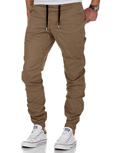 AitosuLa Herren Jogginghose Baumwolle Freizeithose Sport Slim Fit Trainingshose Sweatpants Jogger Pant (Khaki, Medium)