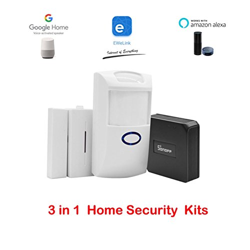 3 in 1 Kits:Sonoff RF Bridge WiFi 433Mhz + PIR2 PIR Infrared Human Sensor + DW1 Door And Window Alarm Sensor For Smart Home Remote Control by IOS Android Works with (Amazon Alexa Google Home) -