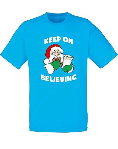 Keep On Believing, Mann Gedruckt T-Shirt Azurblau/Weiß/Transfer