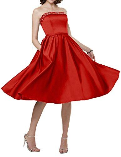 Promgirl House Damen Traegerlos A-Linie Satin Ballkleider Cocktailkleider Knielang Abendkleider Kurz Rot