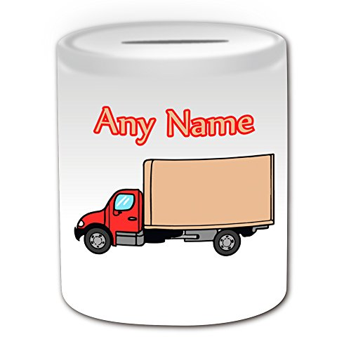 Regalo personalizzato-rosso camion salvadanaio, motivo: trasporto, bianco)-qualsiasi nome/messaggio personalizzato-camion Van