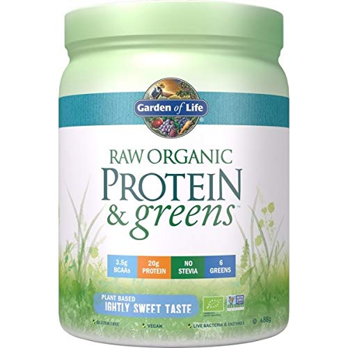 Garden of Life Raw Protein & Greens I Pflanzenprotein I BCAA I Lebende Bakterien & Enzyme I Sprossen I Bio I Vegan (Lightly Sweet)