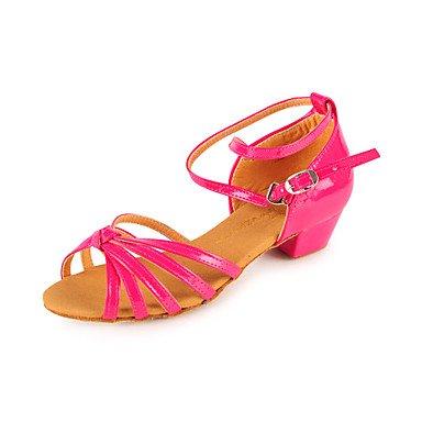 Silence @ enfants Chaussures de danse latine/salle de bal en similicuir Chunky Talon Argenté/doré/fuchsia Silver