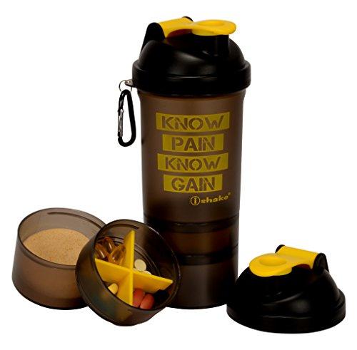 Ishake 019 Shaker Bottle, 500ml (Yellow Soot)