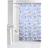 Yellow Weaves Waterproof Polyester Checkered Shower Curtain with 8 Hooks, 71 X 71 Inches, White and Blue