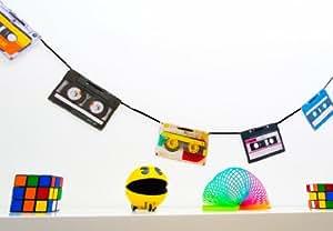 90er jahre party deko wimpelkette im retro kassetten. Black Bedroom Furniture Sets. Home Design Ideas
