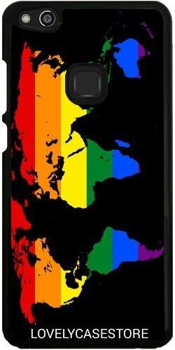Hülle für Huawei P10 Lite - LGBT Weltkarte - Lesbische Homosexuell Bisexuelle Transgender Flagge