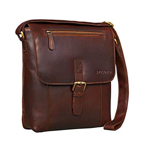 STILORD \'Matthias\' Herren Umhängetasche Leder Vintage Messenger Tasche 10.1 Zoll Tablettasche klein Schultertasche echtes Rinds-Leder, Farbe:Cognac - Dunkelbraun