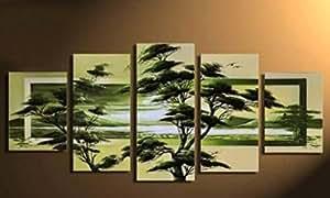 yeesam Art® Grand Champs printemps vert forêt Arbre + + 100% fait main paysage peinture huile art moderne et contemporain abstrait sur toile 5pièces Split à panneaux multiples + + toile peinte à la main mur Art Art Peintures pour maison salon bureau Décorations de Noël Decor ou Gifts + + New Arrival + + No. A771sans cadre
