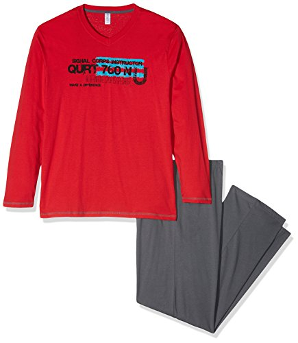 ENVIE Herren Langer Schlafanzug Alen 100% Baumwolle Pyjama für Männer, Red/Dark Grey, XXL