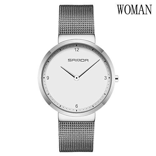 XXTT Armbanduhr Valentinstag Minimalist Ultradünne Mesh Edelstahl Wasserdicht Uhren Geschenk Einfache, Elegante Quarzuhren,White,M