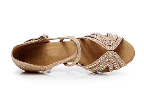 Minitoo qj6172da donna Glitter cristalli sociale Salsa Tango Ballroom Latin Dance scarpe Beige