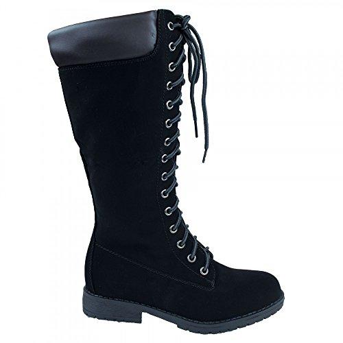 Bottes femme noires montantes type rangers à lacets talon carré- Noir