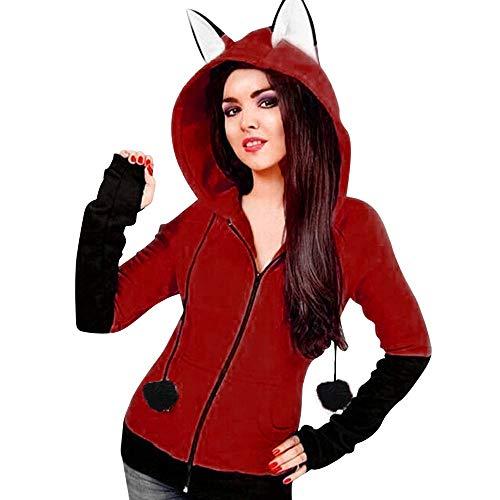 iHENGH Vorweihnachtliche Karnevalsaktion Damen Fox Ears Mit Kapuze Sweatshirts Frauen Langarm Mantel Herbst Hoodie Jacke(3XL,Wein)