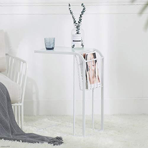Tische Jcnfa Sofa Beistelltisch, gehärtetes Glas Metall Eisen, Lagerregal, C-Form Couchtisch, dekorativer Snack Wohnzimmer, Terrasse, Garten oder Schlafzimmer 3 Farben (Farbe : Weiß) - Glas Eisen Geschmiedet