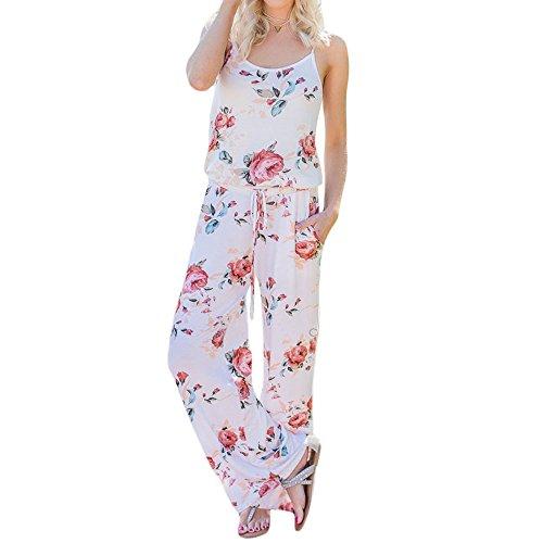 Halloween Union Kostüm Suit (Uranus Damen Blumenmuster Gurt Breites Bein Lange Hose Sommer Strand Strampelhöschen Overall Überlagern)
